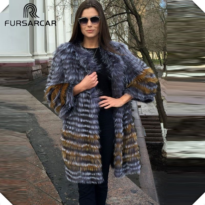 FURSARCA 90cm Long Real Silver Fox Fur Coats Women Winter Genuine Natural Fox fur Coat Plus Size Fashion Women Fur Jacket