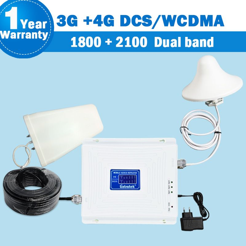 Dual Band 3G Repeater 2100 GSM DCS LTE 4G 1800 WCDMA/UMTS 2100 MHz 3G Verstärker Mobil Signal Antenne Set Dual Band Repeater S45
