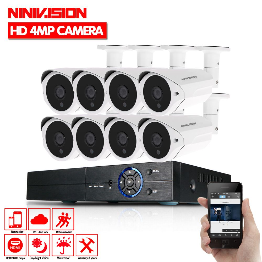 Home HD 8CH CCTV System 4MP DVR 8PCS 4MP 2560*1440 HD IR Outdoor Video Surveillance Security Camera System 8 channel CCTV Kit