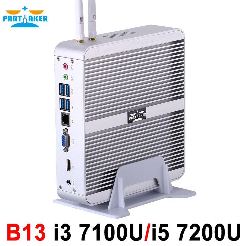 Partaker B13 Fanless Desktop Computer Mini PC I3 7100U I5 7200U Windows 10 Max 16G RAM 512G SSD 1TB HDD Free 300M WiFi 1.5M HDMI