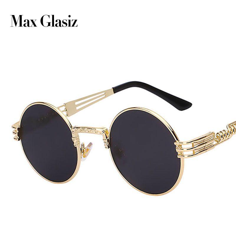 Hommes marque vintage lunettes de soleil rondes 2017 nouveau argent or métal miroir petites lunettes de soleil rondes femmes pas cher de haute qualité UV400