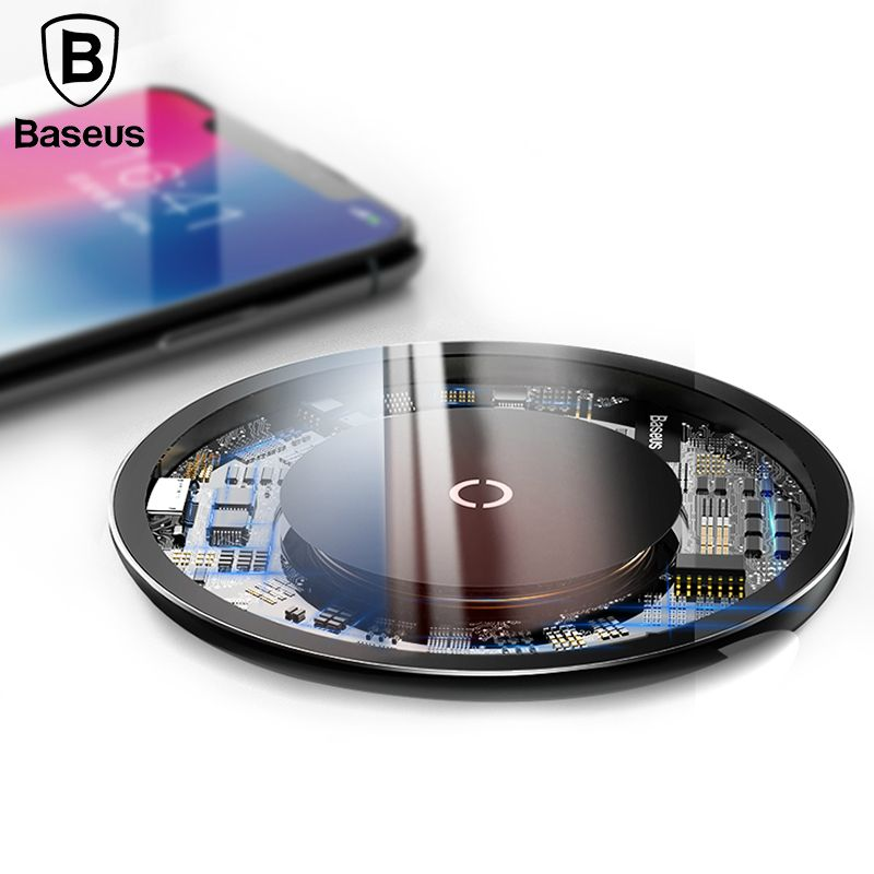 Baseus 10W Qi Wireless Charger for iPhone X/8 Visible Fast Wireless Charging for Samsung Galaxy S9/S9+ S8 Note 8 Xiaomi Huawei