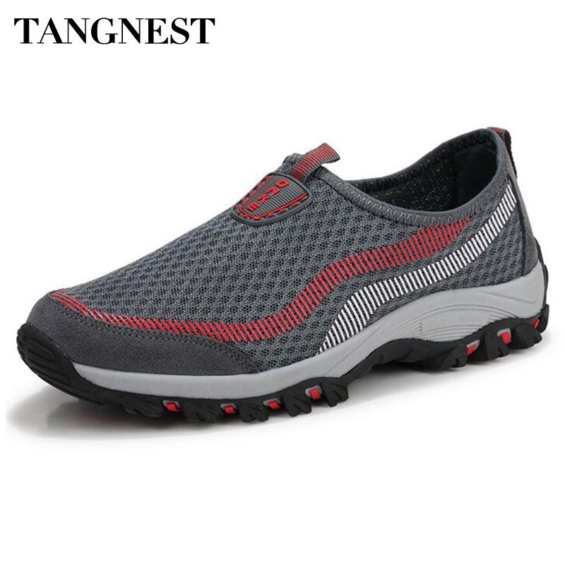 Tangnest 2017 New Men Mesh Shoes Breathable Mixed Color Men Slip-on Flats Network Couple Flats Man Boat Shoes Size 35~44 XMR2469