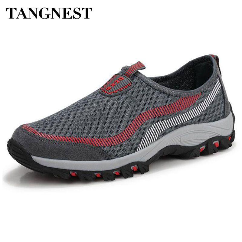 Tangnest 2017 nuevos hombres de malla transpirable zapatos de los hombres mezclados del color Slip-on Pisos Red Par Pisos Zapatos Del Barco Hombre Talla 35 ~ 44 XMR2469
