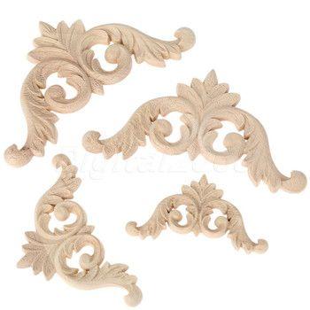 Bois Sculpté Coin Onlay Cadre Porte Meubles Décalque Décoration Coin Applique Accueil Mur Décor De Meubles 4 Pcs