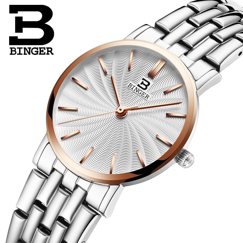 Schweiz BINGER frauen uhren luxus marke quarz uhr voller edelstahl ultradünne Armbanduhren Wasserdichte B3051W-3