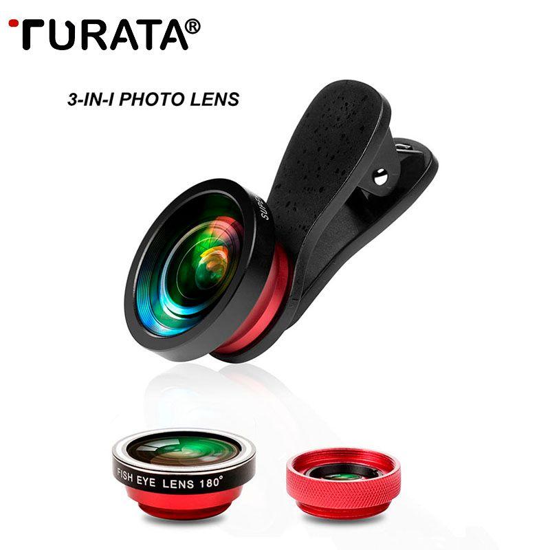 TURATA Professionelle Handy-kamera-objektiv Kit 180 Grad Fisheye + 0,4X Weitwinkel + 10X Makro Clip-on Fischaugen-objektiv für Smartphone