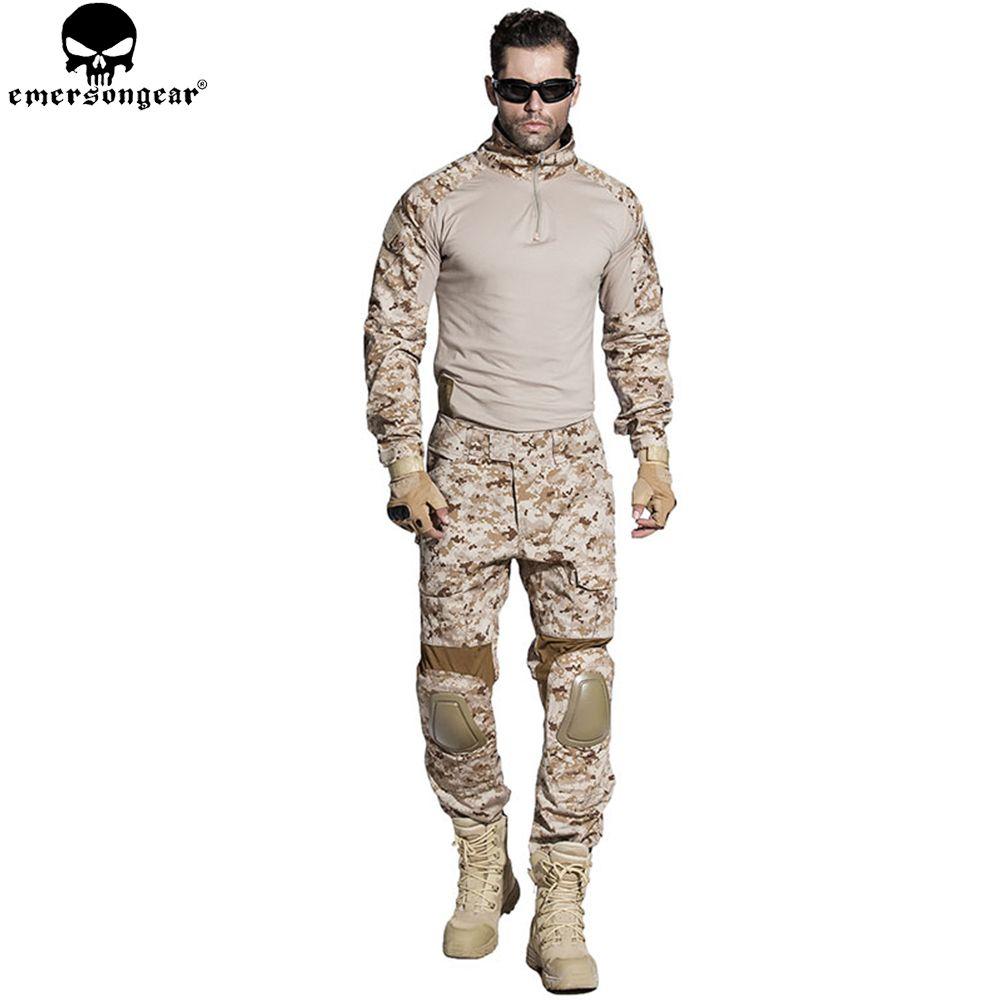 EMERSONGEAR Gen2 BDU Airsoft Kampf Anzug Tactical Hemd Hosen mit Knie Ellenbogen Pads Military Jagd Kleidung AOR1 EM6914