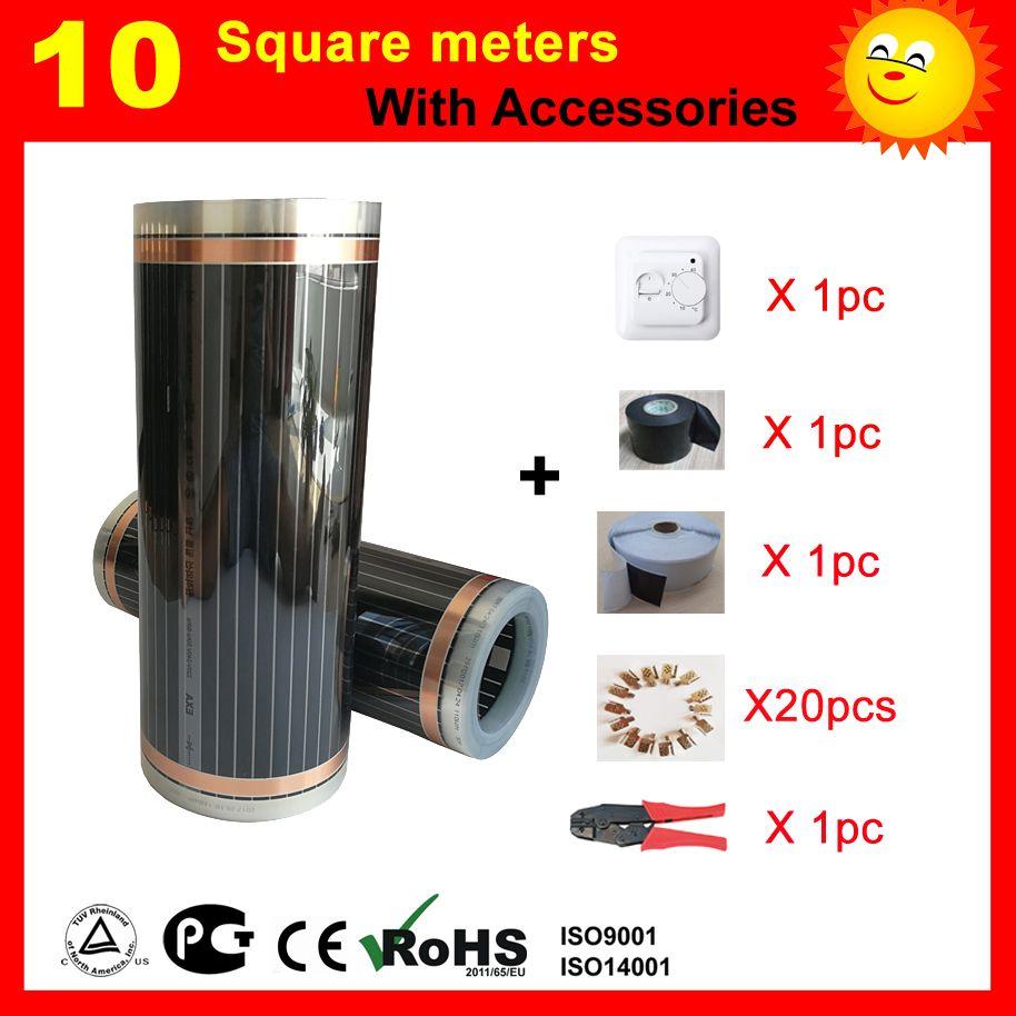 10 quadratmeter Infrarot Heizung film, AC220V boden heizung film 50 cm x 20 mt, zimmer heizung gut zu gesundheit