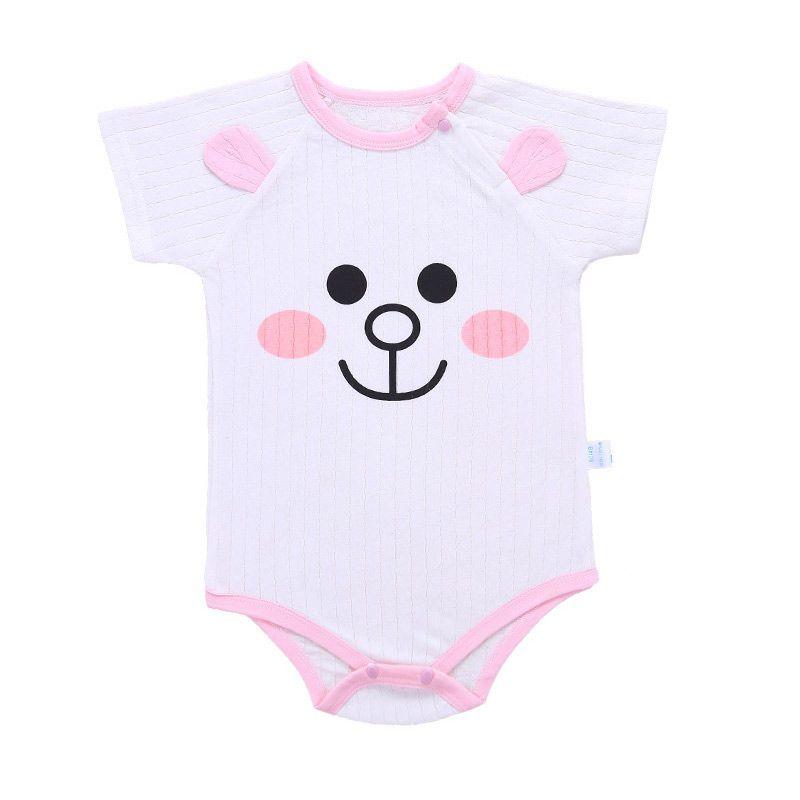 Unini Юн улыбка детский Комбинезончик для новорожденных Для маленьких мальчиков и девочек мультфильм розовый горошек Короткие рукава комбин...