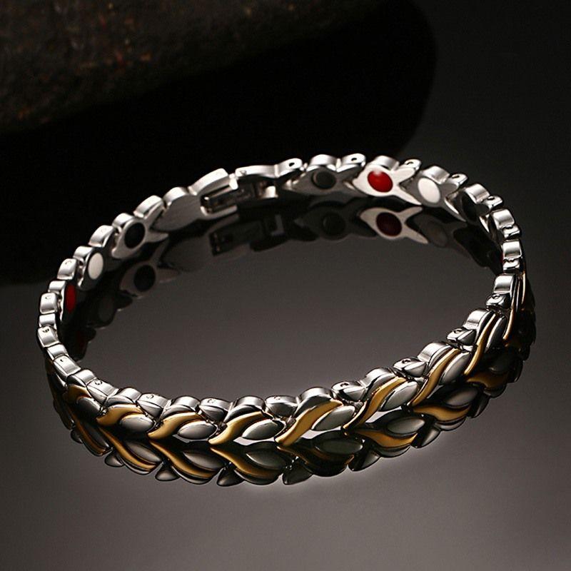 Vinterly Magnétique Bracelets pour Femmes Chaîne Santé Germanium D'énergie Hologramme Bracelet Or Couleur Acier Inoxydable Bracelet Femmes