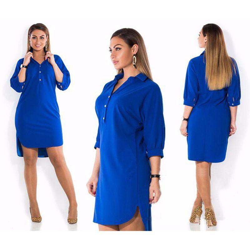 5XL 6XL Fashion Women's Clothing Plus Size Summer Autumn Turn <font><b>Down</b></font> Collar Split Dress Blue Sexy Irregular Large Size Shirt Dress