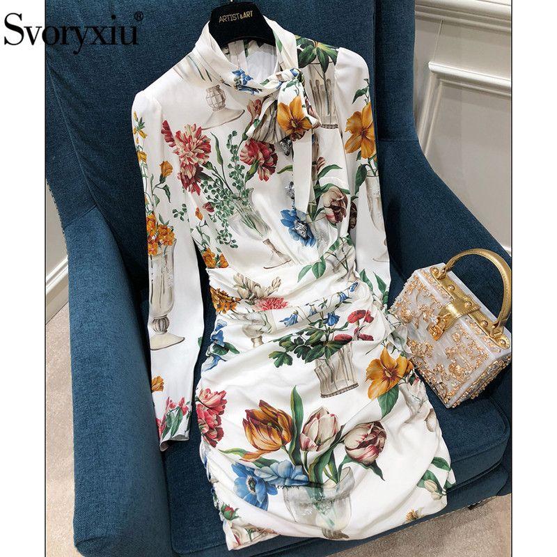 Svoryxiu Runway Autumn High End Silk Sheath Dress Women's Zebra Button Floral Print Fold Package Buttocks Party Mini Dresse