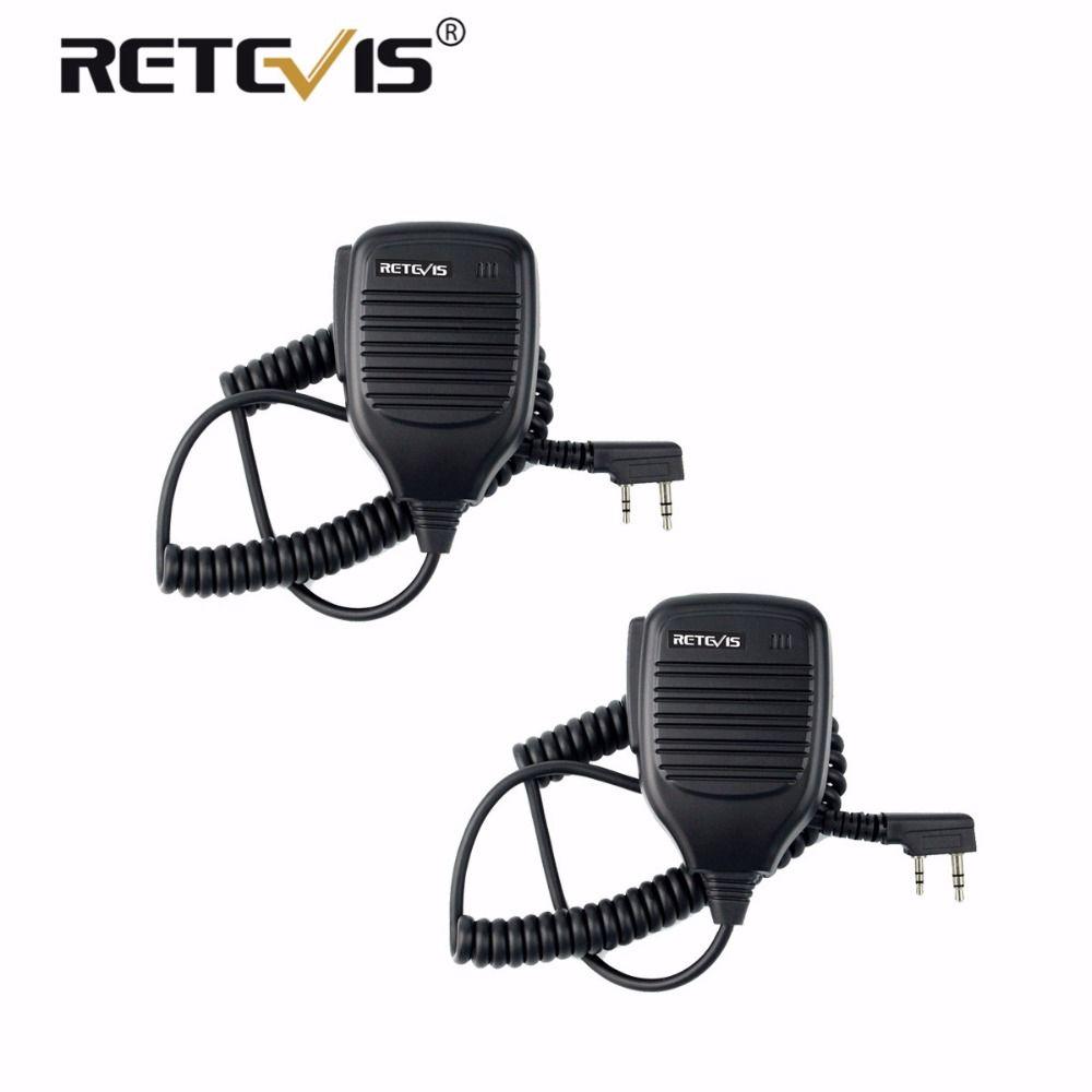 2 pcs PTT Microphone Haut-Parleur Talkie Walkie MIC Accessoires Pour Kenwood Pour Baofeng Bf-888S UV-5R Retevis RT5R H777 RT3 RT22 RT7