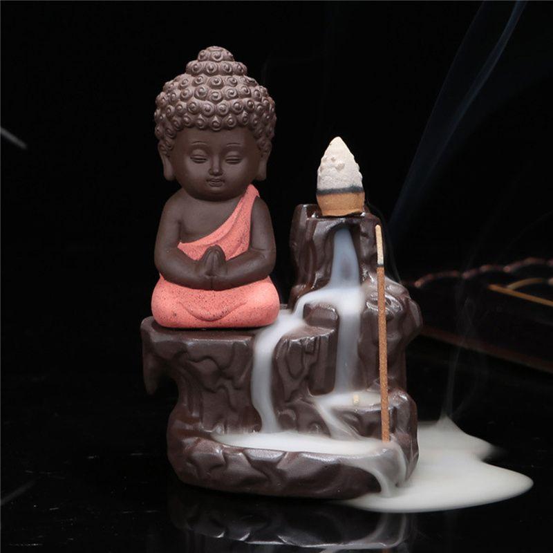 Vente chaude pas cher bouddha en céramique brûleur d'encens encensoir titulaire ensemble avec joss bâtons décoration de la maison salon chambre décor de bureau