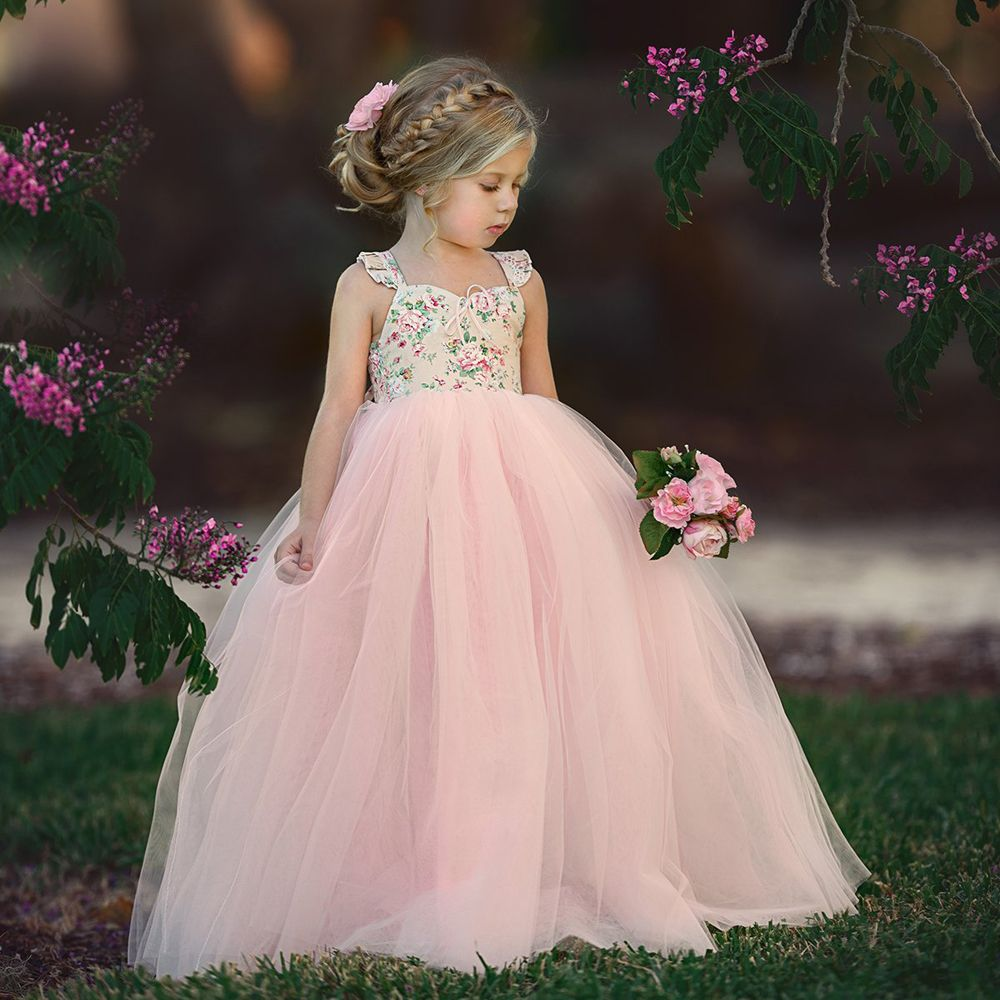 2019 Summer Kid Baby Girls Floral Long Tutu Dress Wedding Party Dresses Toddder Princess Dresses Children Baby Girl Clothing