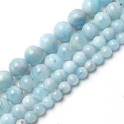 Naturel Aigue-Marine Pierre Rondes En Vrac Spacer Perles Pour La Fabrication de Bijoux Bracelet Collier 15 pouces/strand 6/8/10/12mm choisissez taille