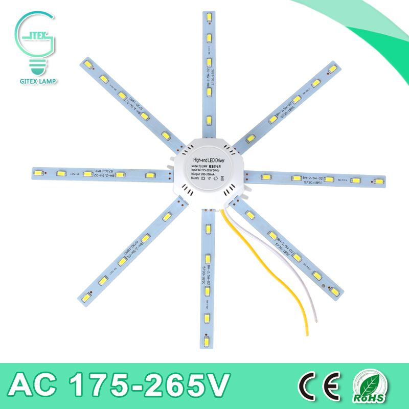 Светодиодный потолочный светильник 5730smd 12 Вт 16 Вт 20 Вт 24 Вт светодиодные лампы Осьминог Light 220 В свет доска энергосбережения продолжительнос...