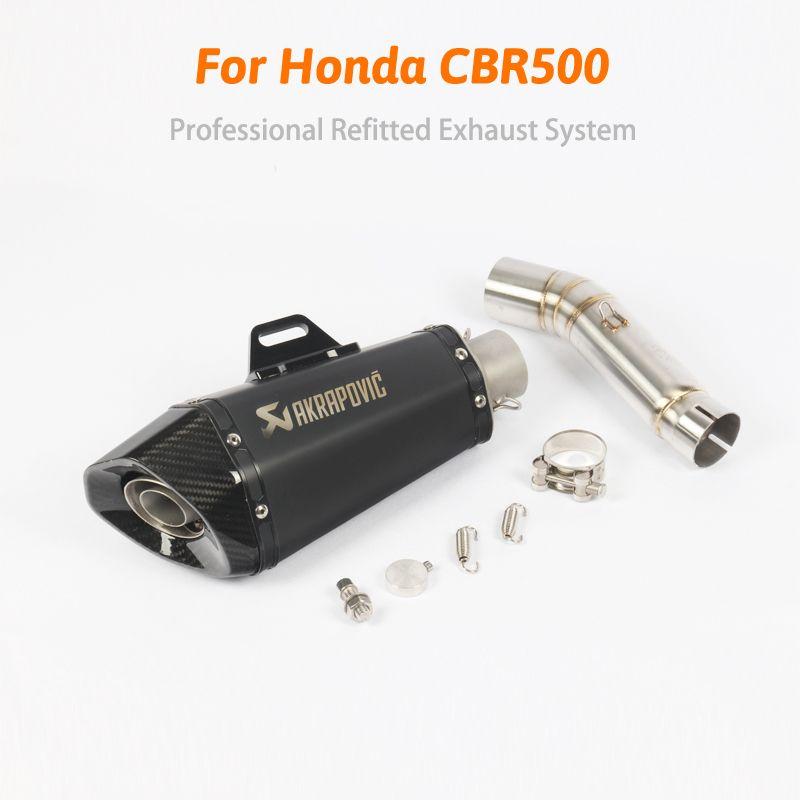 CBR 500 Slip Auf Motorrad Geändert Carbon Auspuff mit Mittleren Link Rohr Für Honda CBR500 Flucht DB Mörder