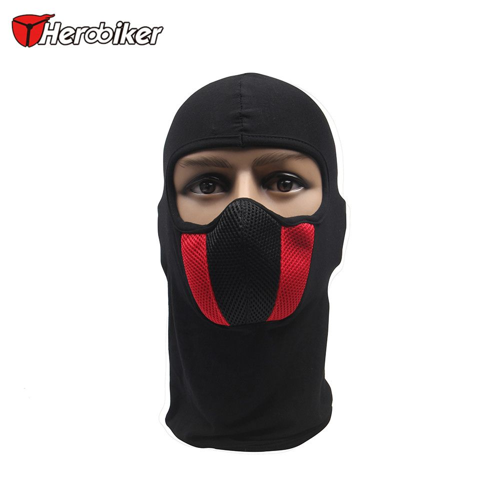 HEROBIKER Cotton Grid Motorcycle Face Mask Men's Outdoor Sports Windproof Dustproof Red Mask