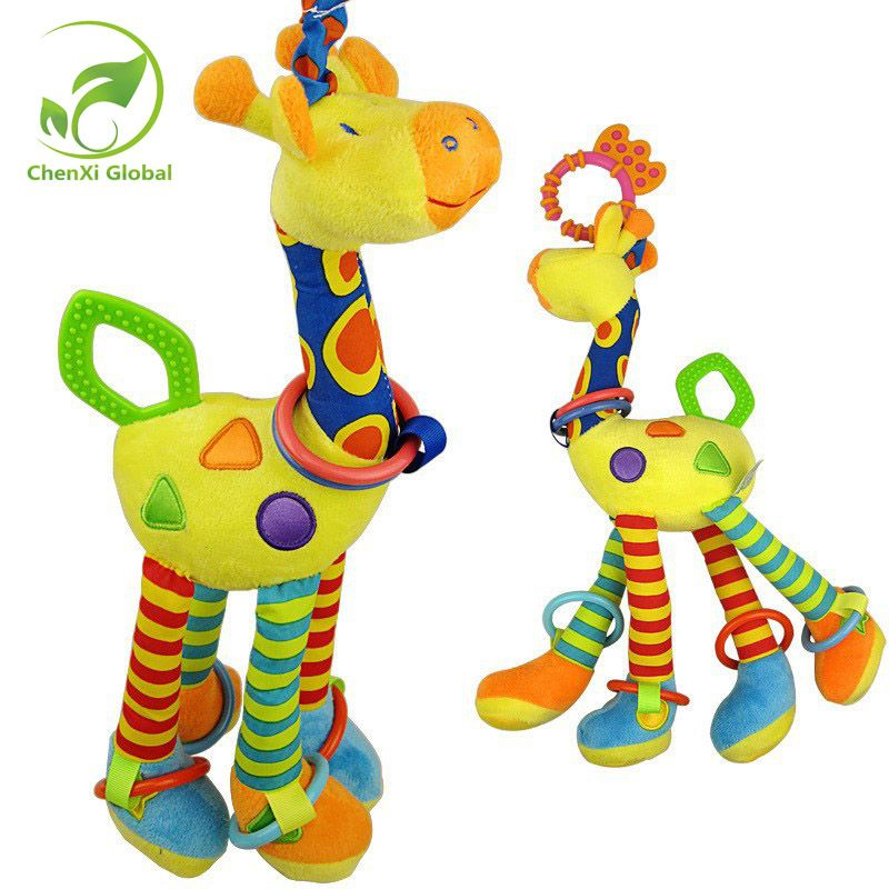 Plush Infant Baby Rattles Development Soft Giraffe Animal Handbells Handle Toys Hot Selling With Teether Baby Toys