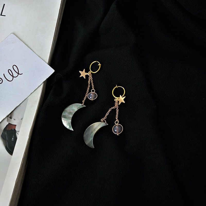 Luna en la simple Shell pendientes largos joyería nueva moda joyería para las mujeres hecho a mano retro hermoso regalo