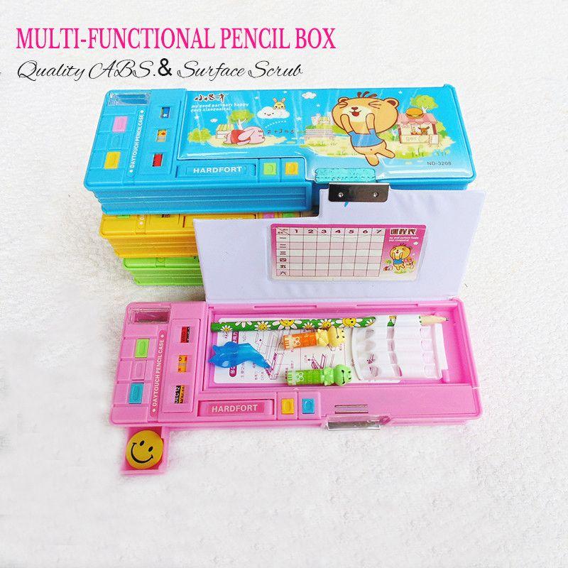Trousse mignonne d'école pour les étudiants double face en plastique automatique créatif papeterie boîtes de rangement cadeau 25*9*3.5 cm 4 couleurs