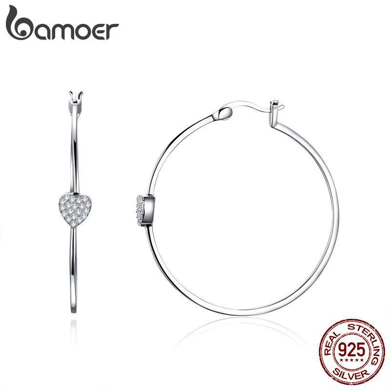 BAMOER Authentische 925 Sterling Silber Großen Kreis Liebe Herz Form Klar CZ Ohrringe für Frauen Hochzeit Silber Schmuck SCE518