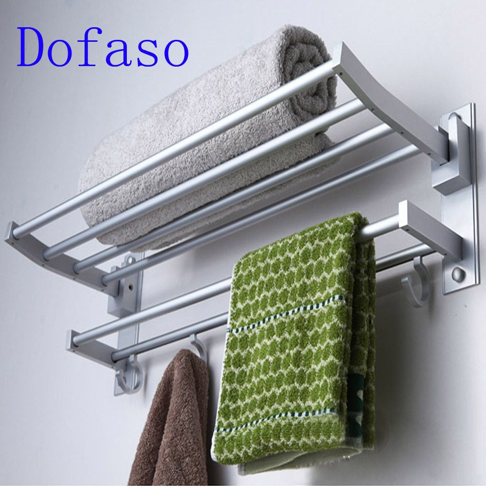 Dofaso toilet hardware shower organizer 40cm/50cm length shower towel rack 2 layer bathroom shelf accessory with hook