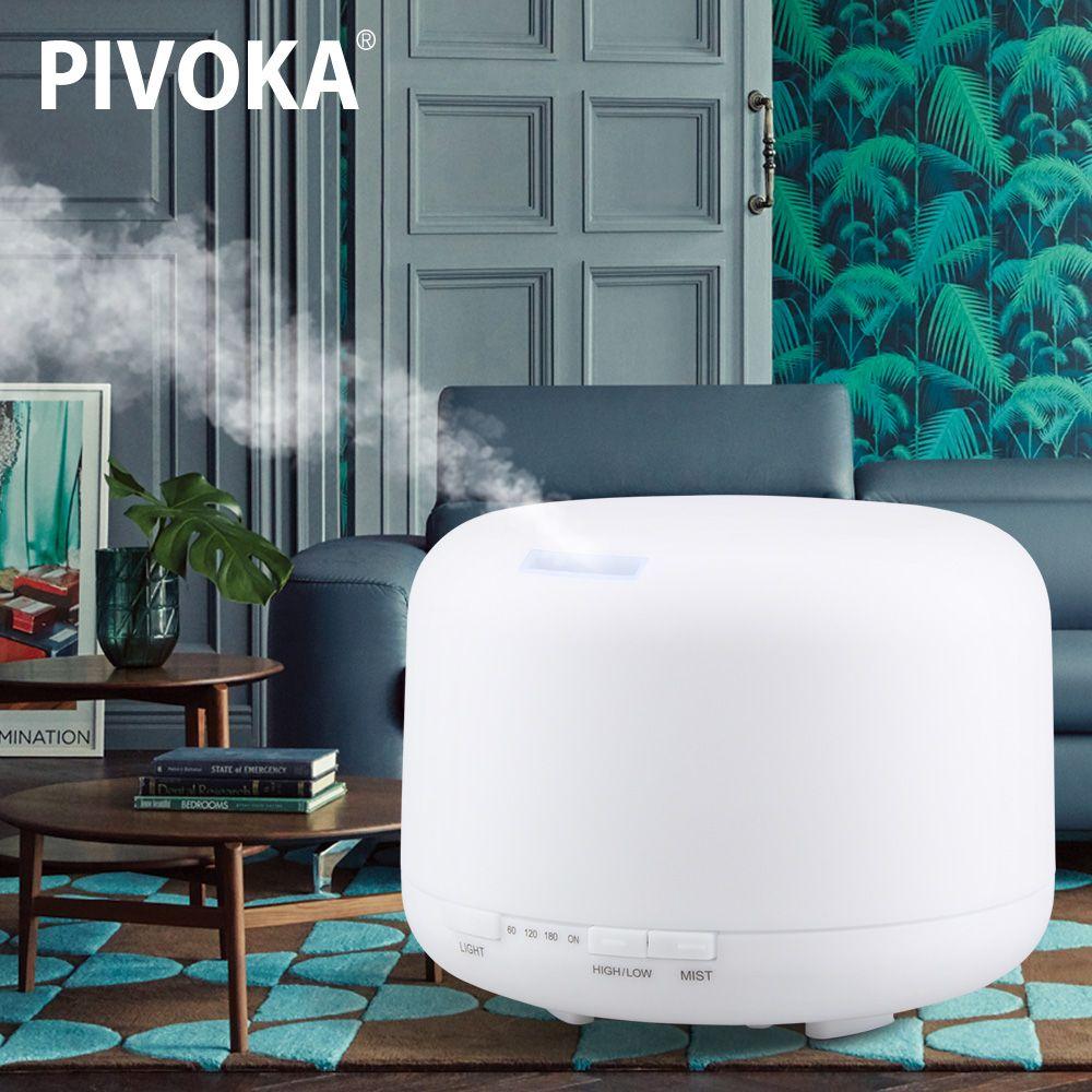 PIVOKA 500 ml D'air Ultrasonique Arôme Humidificateur Essentiel Machine Aromathérapie Huile Mist Maker 7 Couleur Changement LED Lumière pour La Maison 168