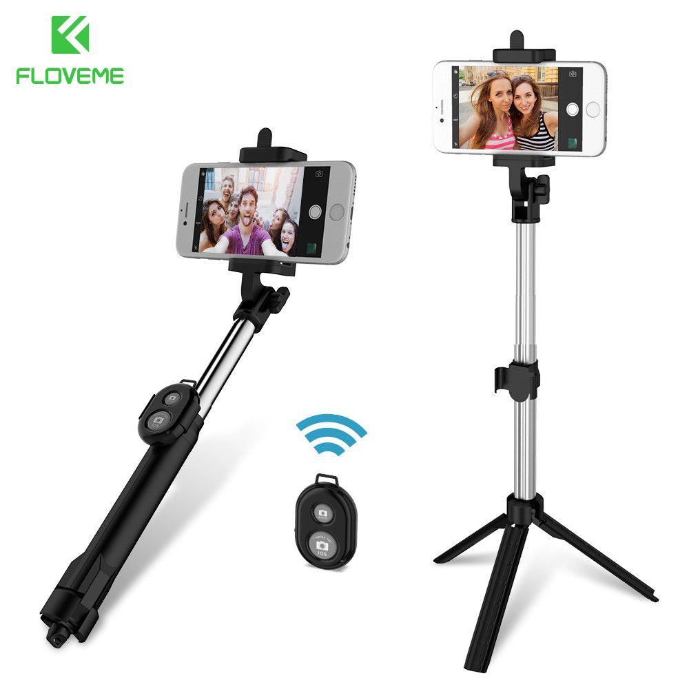 FLOVEME Téléphone Trépied Selfie Bâton Bluetooth Pliable Selfiestick Pour iPhone Android Pour Samsung Xiaomi Huawei À Distance De Poche