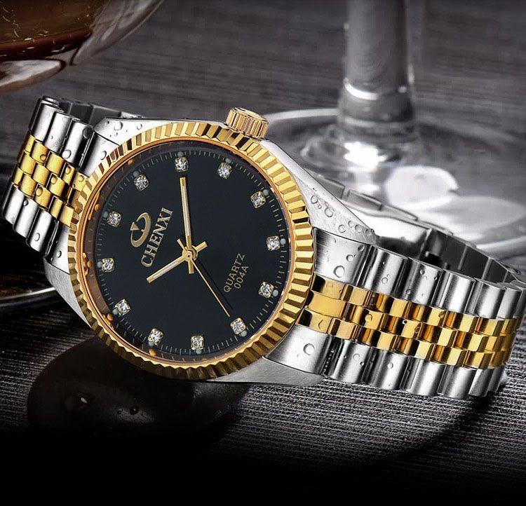CHENXI montre homme de luxe argent entre la montre-bracelet amoureux strass or bracelet à ongles classique rétro homme femmes montre d'affaires
