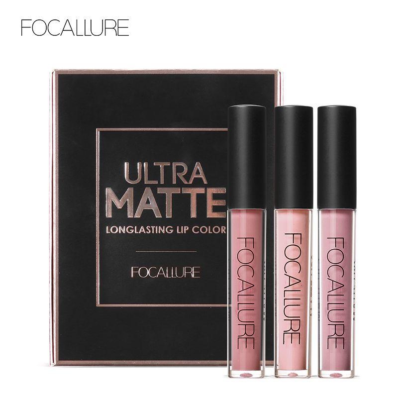 FOCALURE 3Pcs Long-lasting Lip Colors Makeup Waterproof Tint Lip Gloss Red Velvet Ultra Nude Matte Lipstick Colourful