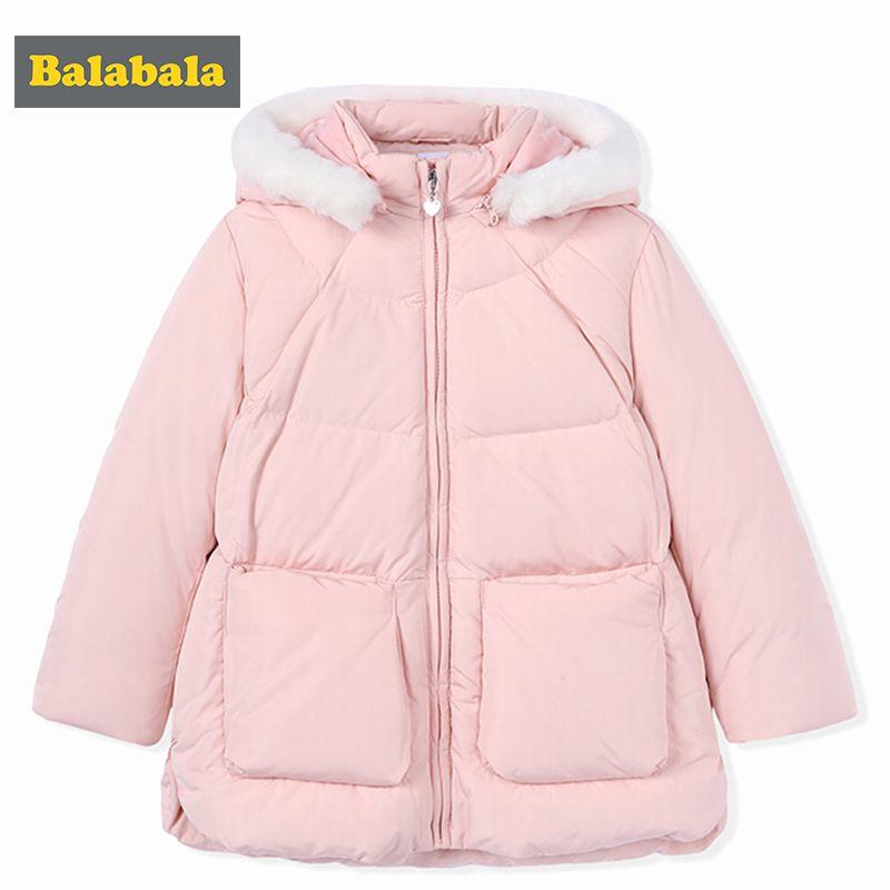Bababala девочек Зимний пуховик Куртки 90% белый одежда на утином пуху средней длины розовый синий тепло куртка для девочки детская