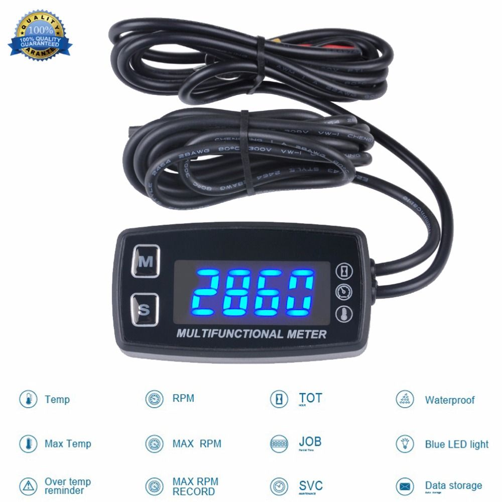 RL-HM035LT LED Tach/Hour Meter thermometer temperature meter for gasoline marine outboard paramotor trimmer cultivator tiller