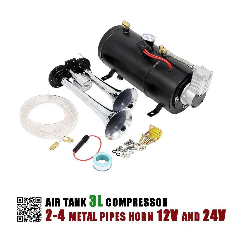 12 V UND 24 V Luftkompressor Horn mit 3 Liter Tank für Air Horn Zug Lkw RV Pickup 125 PSI