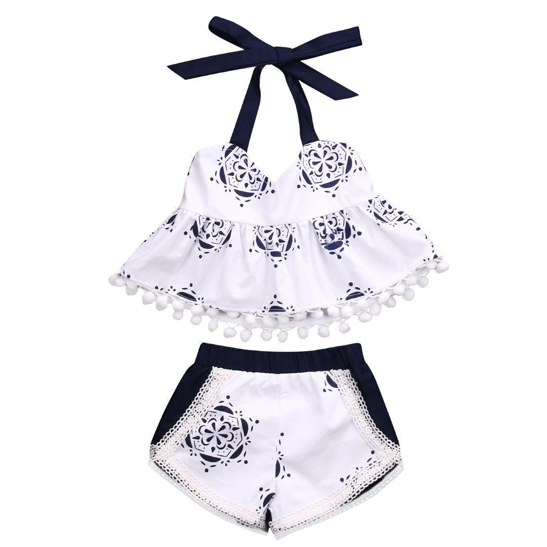 Bebé recién nacido Niñas ropa Camisetas de tirantes camiseta sin mangas cinturón Pantalones cortos ropa infantil linda del bebé 2 unids trajes