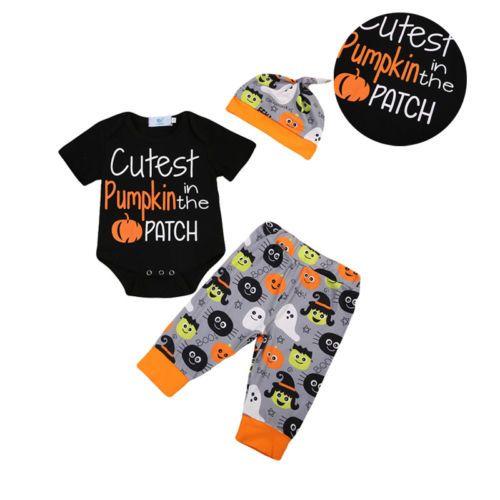 3 unids bebé Halloween ropa recién nacido de la muchacha del algodón romper + Pantalones calabaza sombrero Set