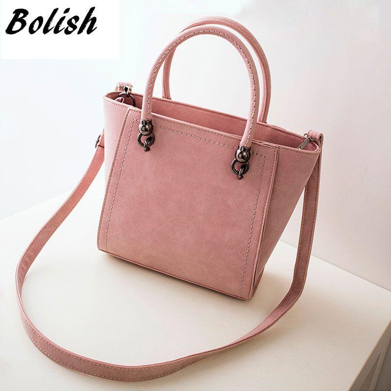 Bolish Women Vintage Nubuck PU Shoulder Bag Female All-Purpose Style Solid Handbag Lady Sweety Daily Shopping Crossbody Bag