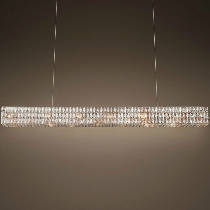 modern RH new rectangular crystal chandelier Oliver original design creative art decoration light restaurant luxury chandelier