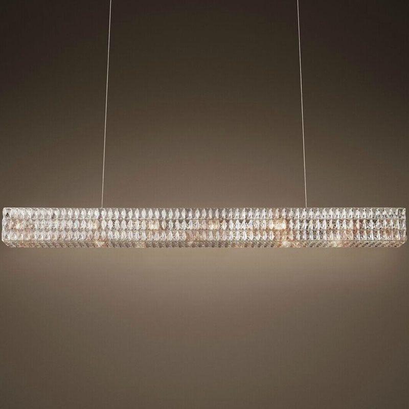 modern RH new rectangular crystal chandelier Oliver original design creative art decoration light restaurant luxury chandelier