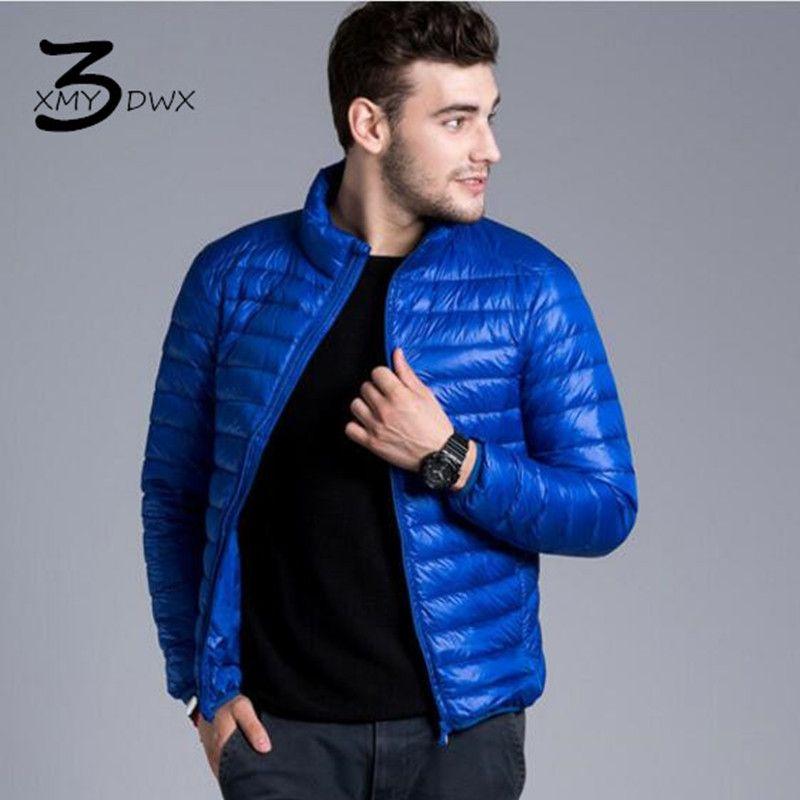 XMY3DWX Mode männlichen Slim Fit Super licht dünne 90% Weiß ente daunenjacke/männer reine farbe stehkragen Lässig nach unten mantel