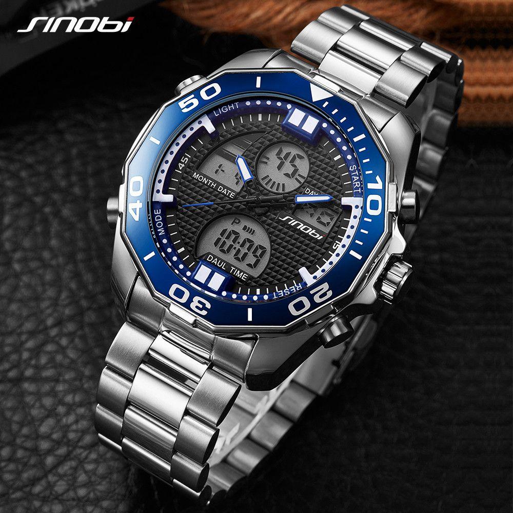 SINOBI Top Marke Luxus Herrenuhren Mode Lässig Sport Armbanduhr Dual Digital Movt Uhr Military Business Relogio Masculino