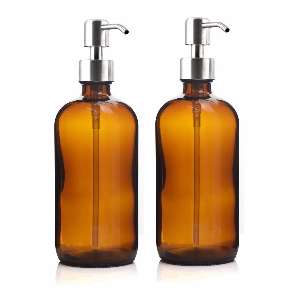 16 Oz Large 500ml Liquid Soap Dispenser Amber Glass Pump Bottle with Stainless Steel Lotion Pump for homemade lotions detergent