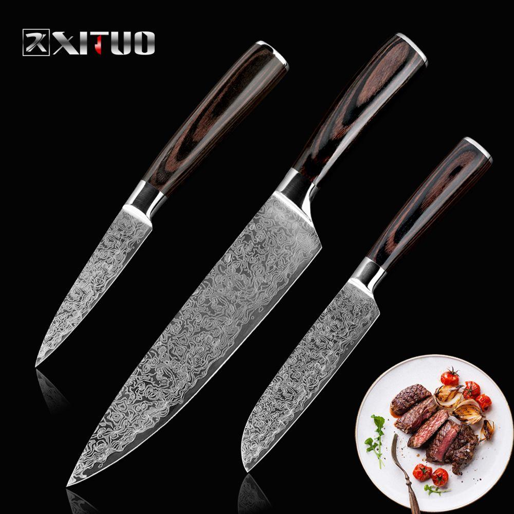 XITUO acier inoxydable couteaux de cuisine japonais damas motif chef couteau ensembles couperet Paring Santoku outil utilitaire de tranchage