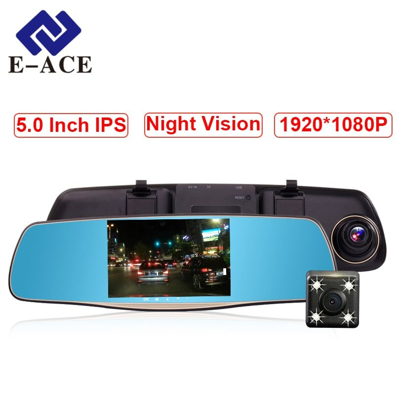 E-ACE Car Camera 5 Inch DVRs With Dual Camera Lens Full HD 1080P 30FPS Video Registratory Rearview Mirror Dashcam Night Vision