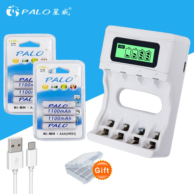 Intelligence 4 Slots LCD display battery Charger for AA / AAA Battery + 8pcs AAA 1100mah <font><b>nimh</b></font> rechargeable batteries