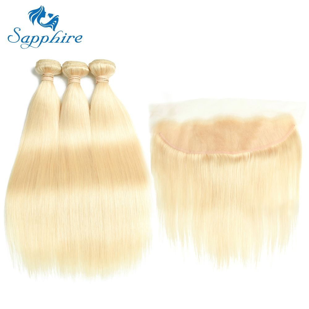 Sapphire Human Hair 613 Blonde Hair 3 Bundles with Lace Closure Brazilian Straight 3 Bundles With ear to ear 13x4 Lace Frontal