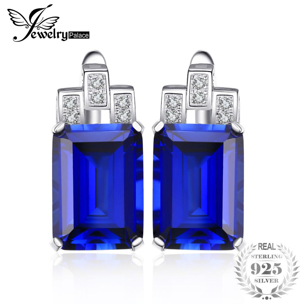 JewelryPalace Luxury Emerald Cut 12.1ct Created Blue Sapphire clip earrings 925 Sterling Silver Fashion Jewelry for Women
