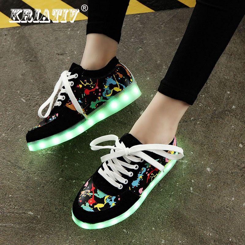 KRIATIV Usb charge chaussures enfant chaussures de sport rougeoyantes LED pantoufles faire avec allumer les filles chaussures infantile tenis LED baskets lumineuses